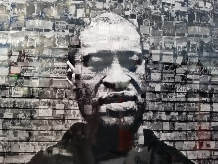 George Floyd face mural from paper