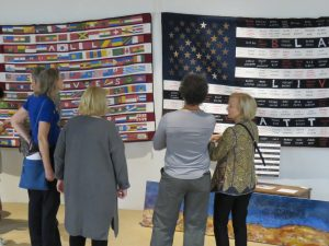 AAR Opening Night Checking Out K. Burkes BLM Quilts