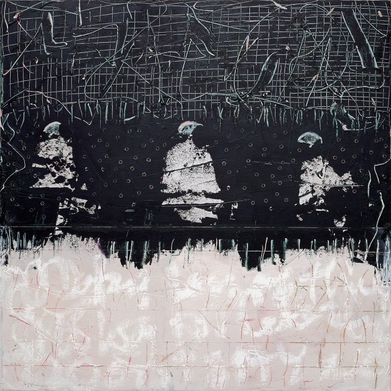 Three figures in abstraction that looks like fences of confinement