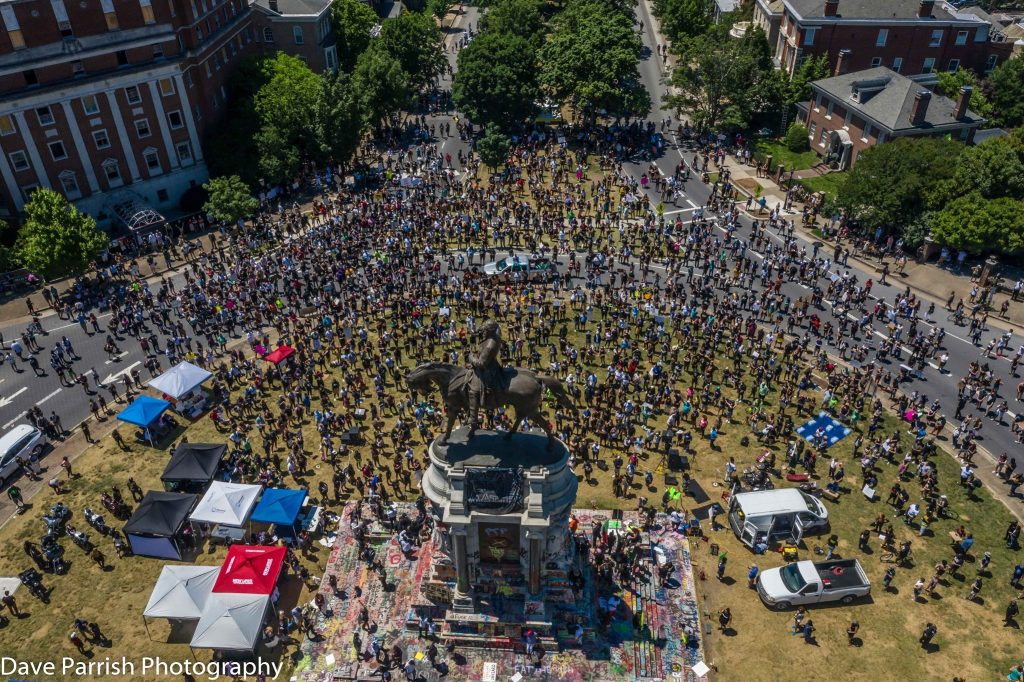 Arial view of protesters gathering below General Lee statue in Richmond