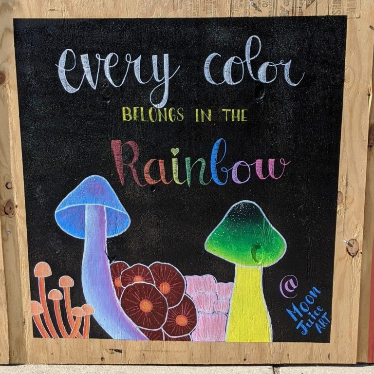 """Sota Letters Co. mural of mushrooms and text """"every color belongs in the rainbow"""" signed @moonjuiceart"""