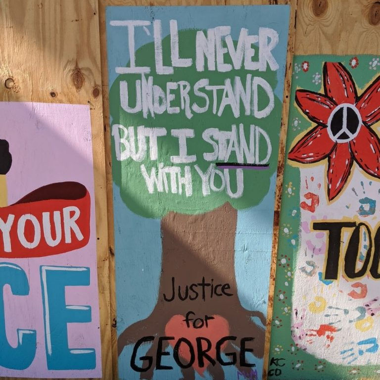 "Sota Letters Co. mural of tree covered with text ""I'll Never Understand but I stand with you, Justice for George"""