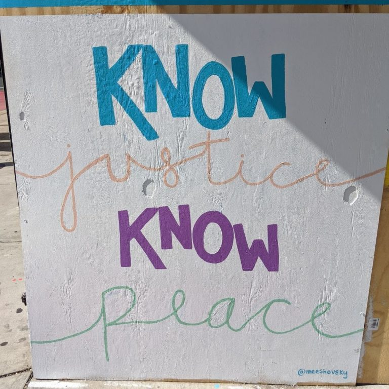 "Sota Letters Co. mural of text ""know justice, know peace"""