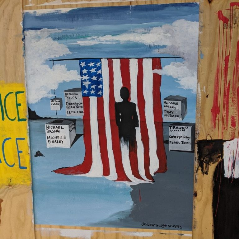 Mural of American flag covered with partial black silhouette shore surrounded by blocks with the names of police brutality victims.