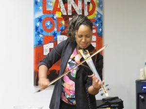 Laticia Lewis playing at AAR Opening Reception