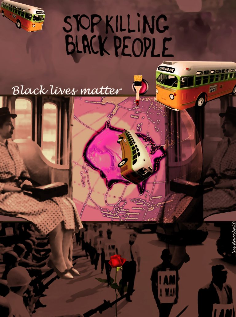 Collage of protestors, Rosa Parks seated on a bus, bus on a map and Black Lives Matter text.