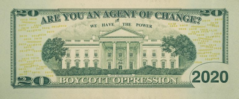 Twenty dollar bill with question Are You An Agent of Change