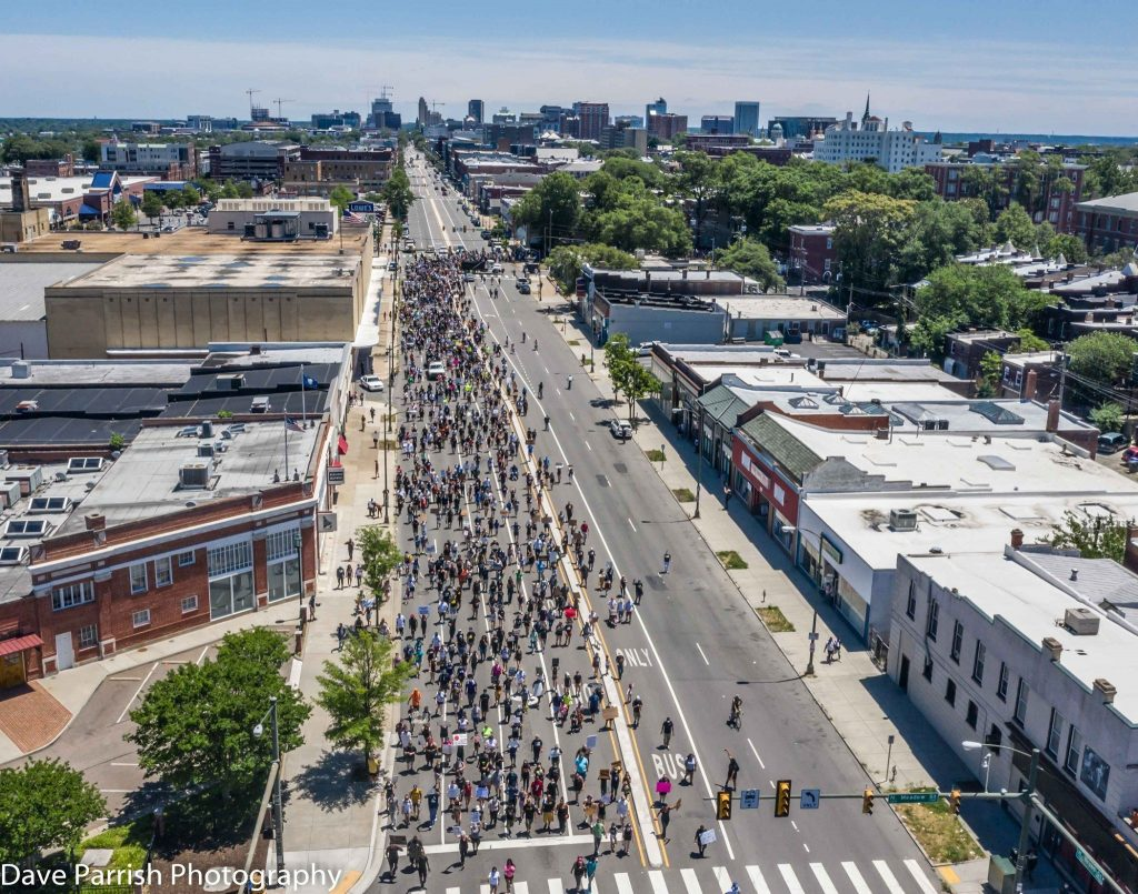Protesters march along highway in Richmond