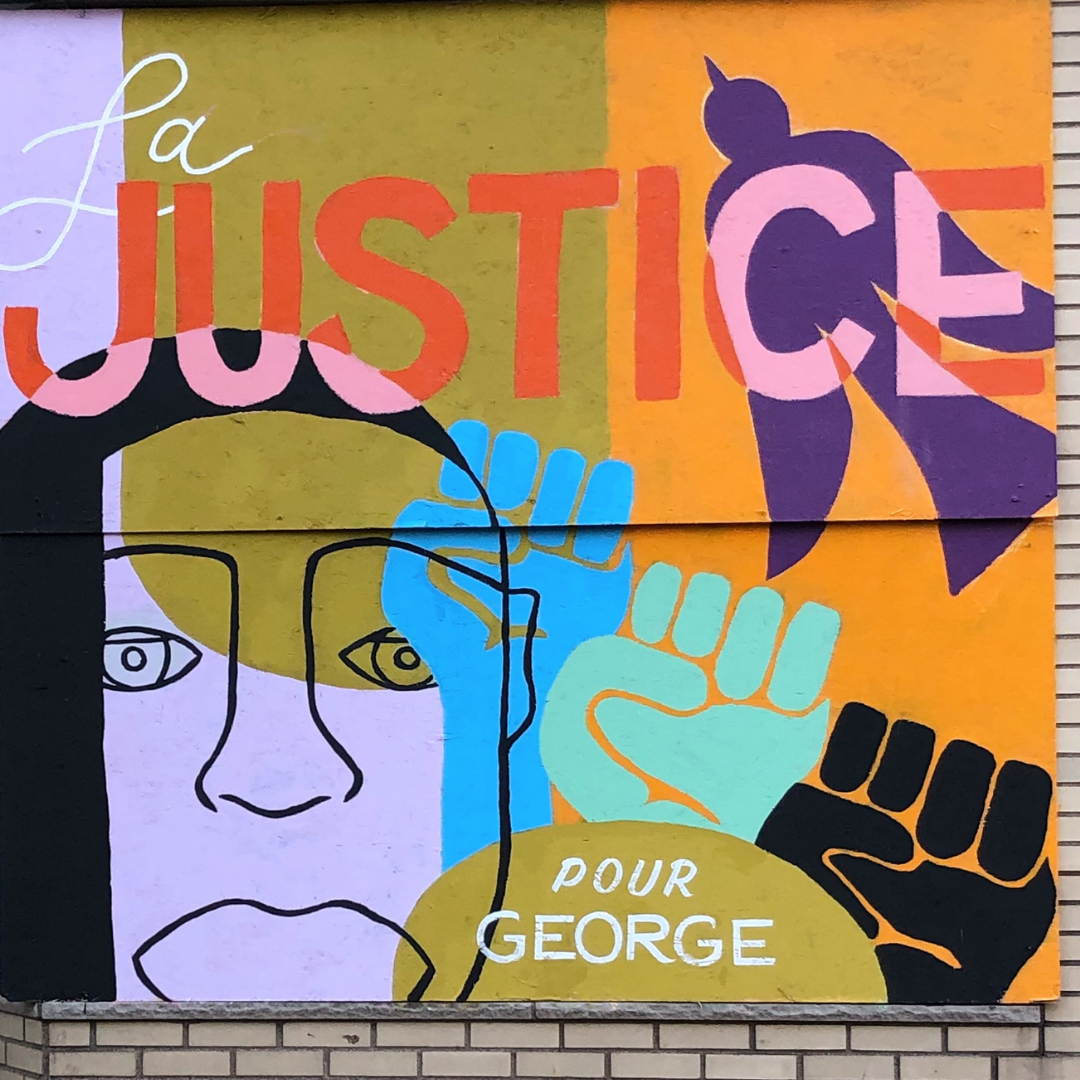 """Mural of George Floyd with text french """"La Justice pour George"""""""