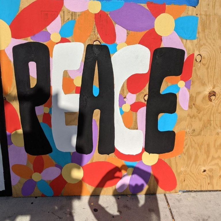 "Sota Letters Co. colorful mural of abstract flowers with black and white text ""PEACE"""