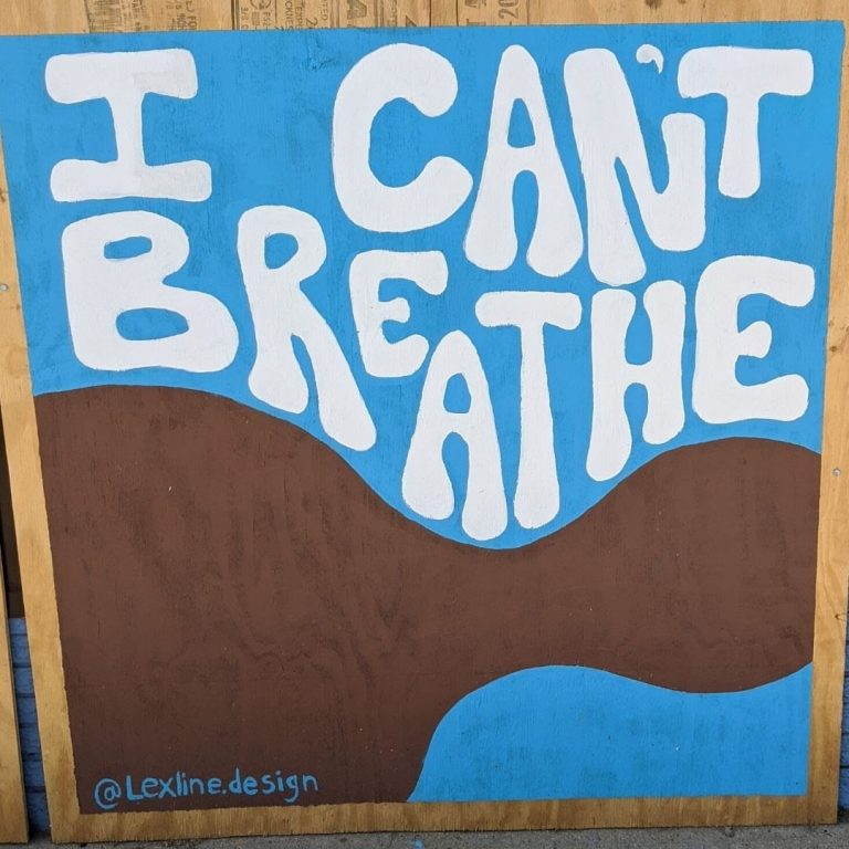 "Sota Letters Co. mural brown silhouette with ""I Can't Breathe"" text signed by @lexline.design."