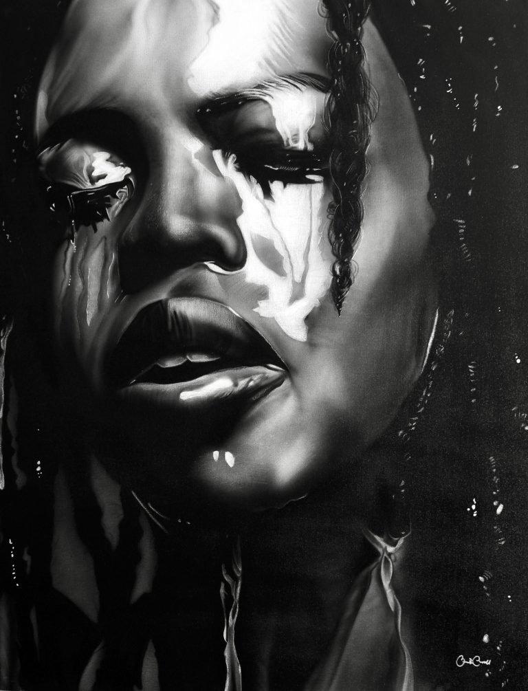 Black women's face soaked in rain