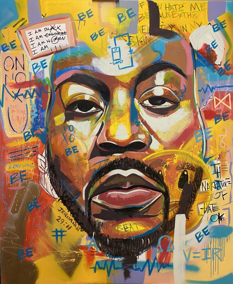 Face of black man surrounded by graffiti-like text