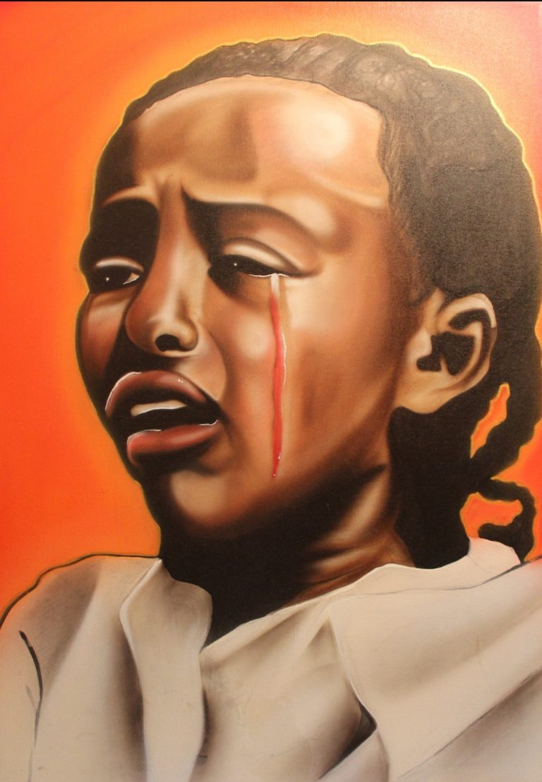 Painting of little girl crying a tear of blood.