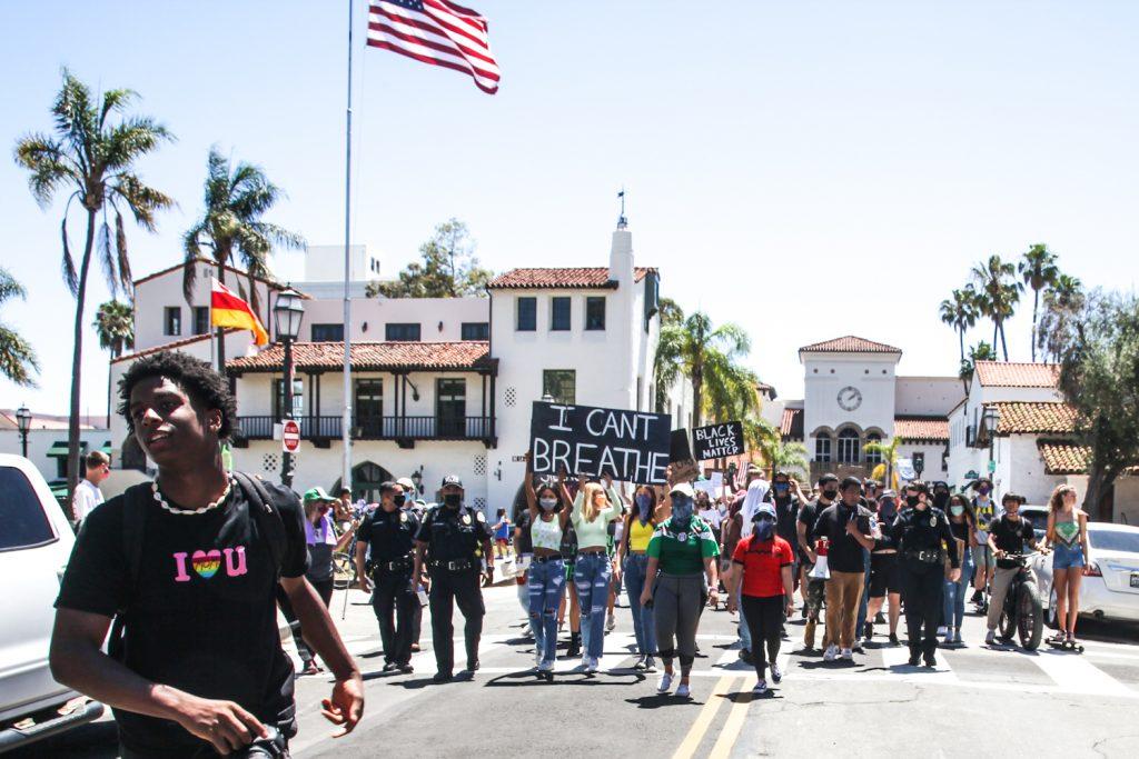 Protestprs marching in BLM Protest in Santa Barbara California