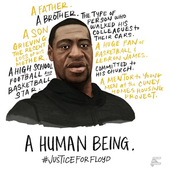 Portrait of George Floyd and text reflecting his humanity