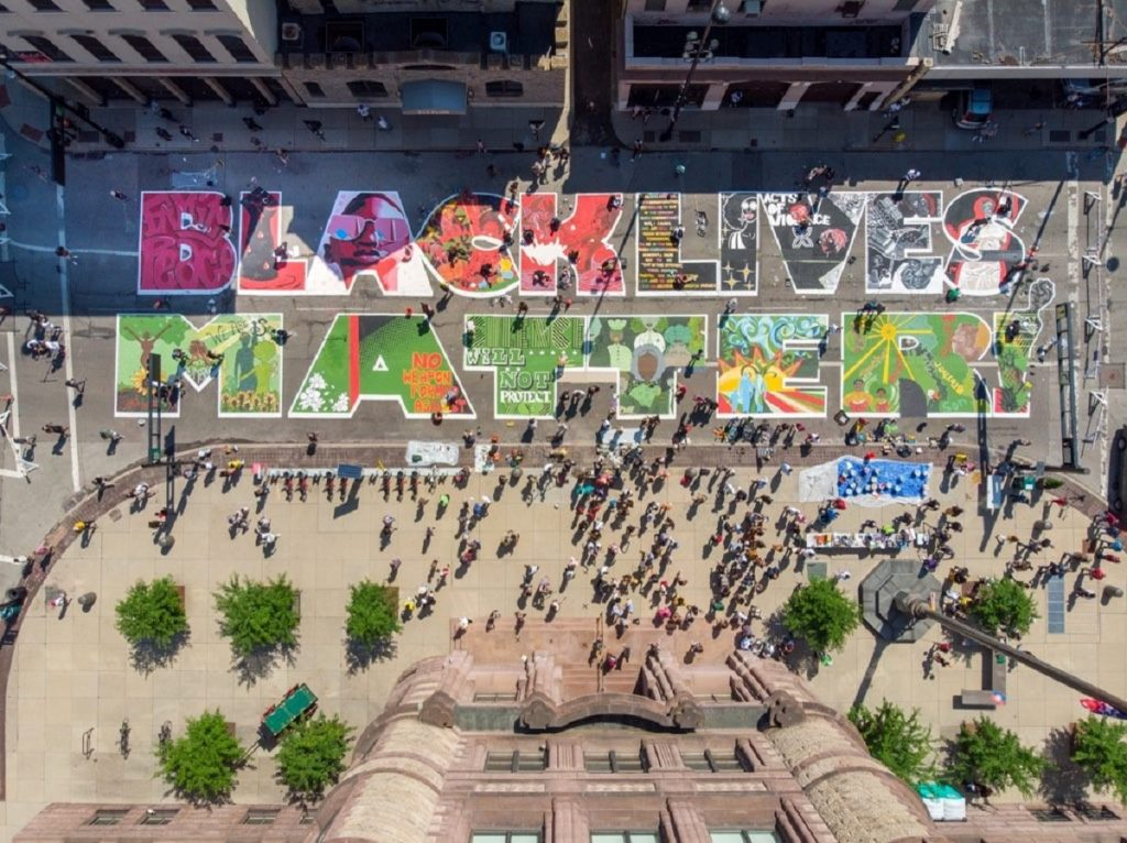 Black Lives Matter Mural to scale