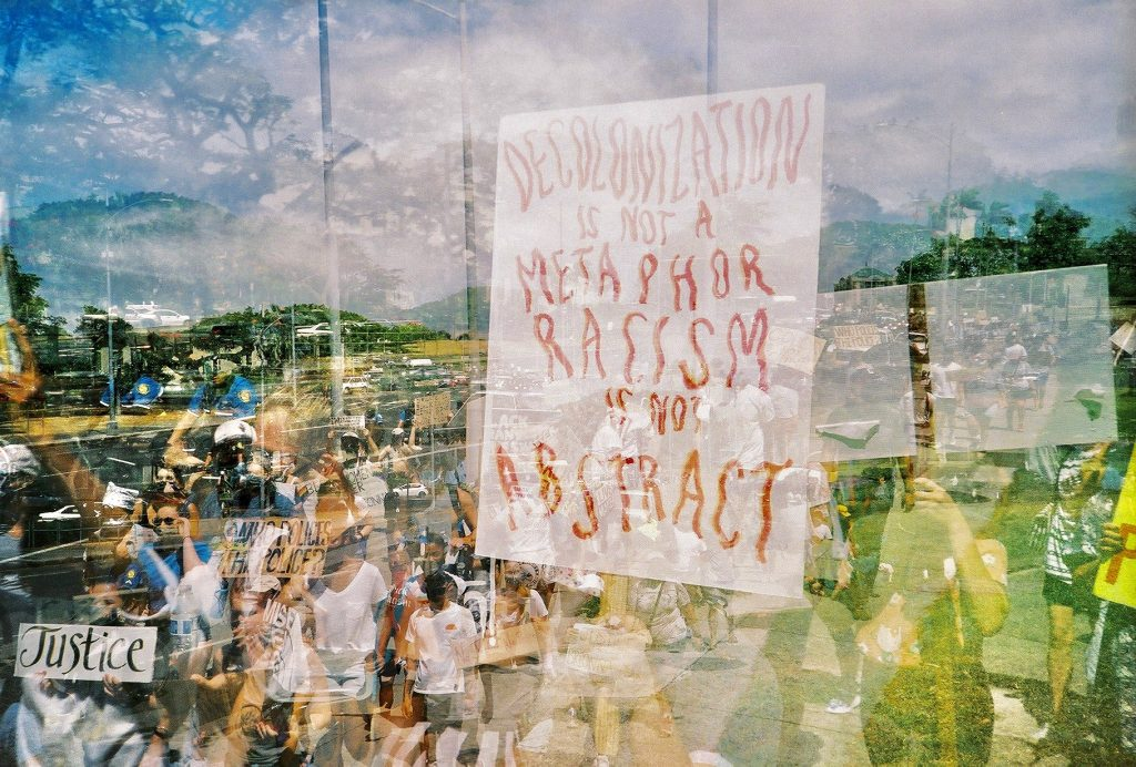 Double exposure of people at Black Lives Matter protest in Honolulu