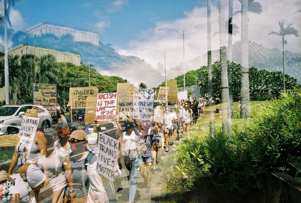 Double exposure of people at Say Her Name protest in Honolulu