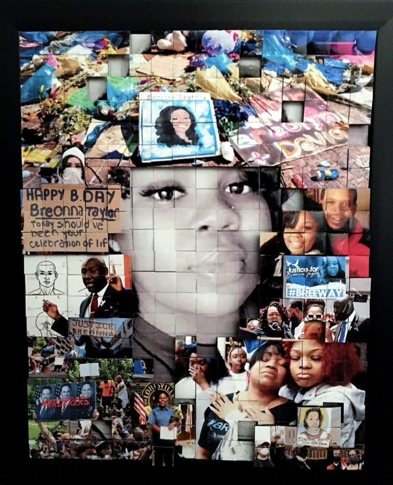 Photomontage featuirng Breonna Taylor and protests