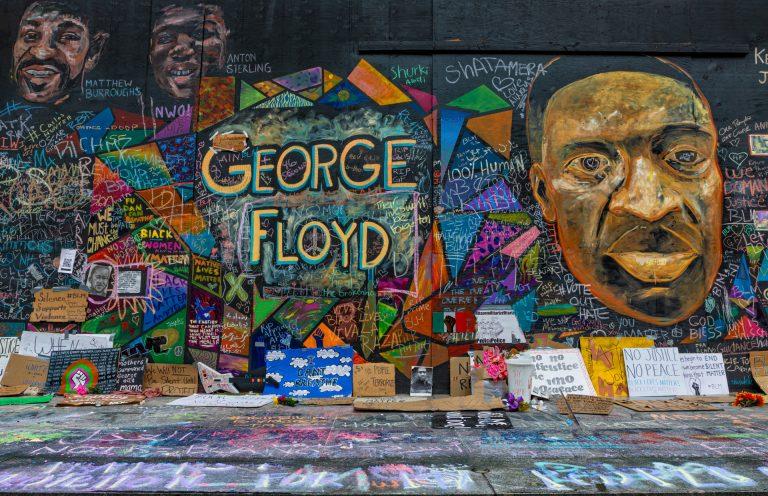 Mural in downtown Portland, OR of George Floyd