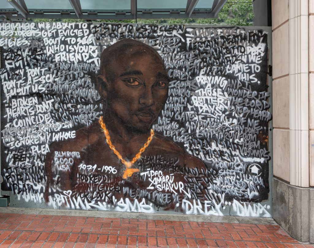 Mural in downtown Portland, OR of Tupac