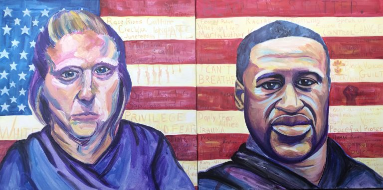 White woman portrait next to portrait of George Floyd both in front of American flag