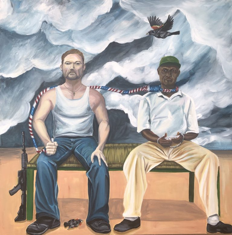 A white man and a Black man sitting on a bench with a red, white and blue noose around the black man's neck