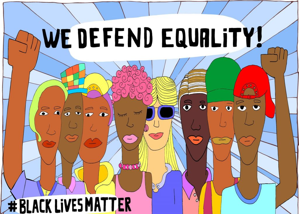 "Art work of diverse colored people with raised fists and text ""We defend Equality"""